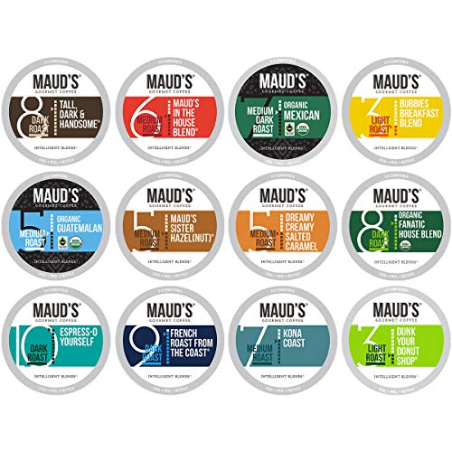 Maud's 12 Flavor Coffee Variety Pack, 136ct Recyclable Single Serve Variety Coffee Pods – 100% Arabica Coffee California Roasted, Variety KCups Compatible Including 2.0