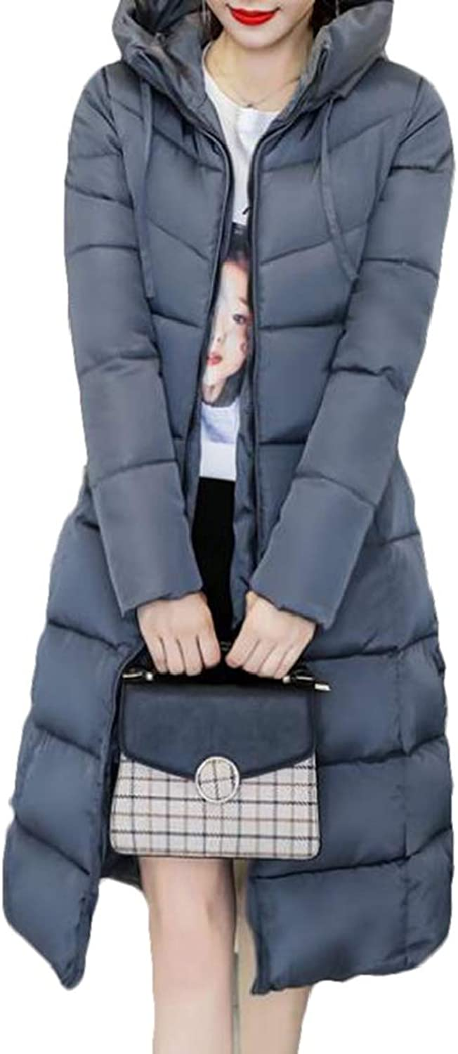 KLJR Women Slim Thickened Solid color Long Hooded Parka Jacket