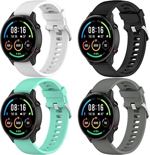 Gransho Pulseira de Relógio compatível com Xiaomi Haylou RT LS05S / Mi Watch Sport/Mi Watch Color, Pulseira de Reposição Esportiva Estreita de Silicone Macio Para Relógio Inteligente (4-Pack J)