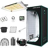 "MARS HYDRO Grow Tent Kit Complete TS 600W LED Grow Light 2x2ft Full Spectrum Indoor Grow Tent Kit 24'x24'x55' Hydroponics Grow Tent 1680D Canvas with 4"" Ventilation Kit for Grow Setup Kit Tent Kit"