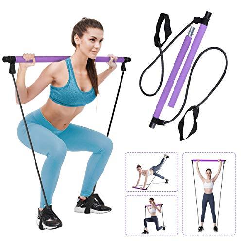 Charminer Pilates Bar Kit mit Widerstandsband, Multifunktionaler tragbarer Heimfitness Pilates Übungsstab, Ganzkörpertraining, für Yoga, Fitness, Gewichtsverlust