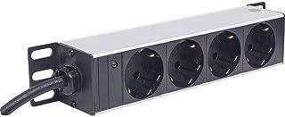 Intellinet 10 4-fach Steckdosenleiste Schutzkontakt  Power-LED ohne Überspannungsschutz 1,8 m Stromkabel 1 HE  schwarz 714020