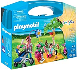 Complete with a tricycle, stroller and lots of accessories Complete with a full picnic bag Play, store and carry away Includes 3 Play Mobil figures Encourages learning through interactive play