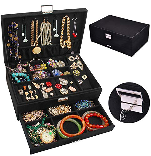Jewelry Box Organizer, QBeel 53 Compartments Velvet Large Necklace Jewelry Storage Organizer with Drawer Lock Women Jewelry Display Holder Case for Earrings Bracelets Rings Necklace Watches - Black