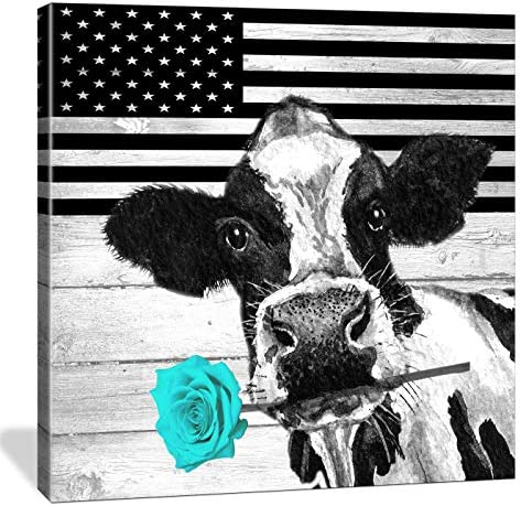 HUADAOART Cute Cow Wall Art Black and White Vintage Wood Board Canvas Print Artwork Home Decoration product image