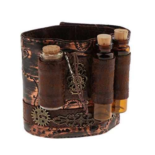 Hellery Steampunk Armband PU Leder Punk Gothic Armband Armband Manschette Armband