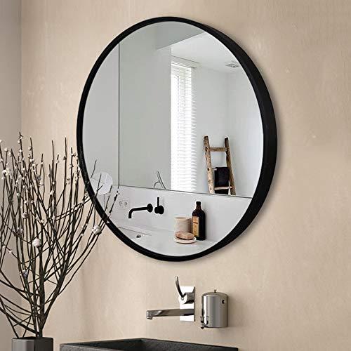 YXW Espejo de Pared Redondo Dorado, 60cm Decoración Espejo de Vanidad de Gran Círculo, Espejo Baño, Espejo Decorativo Rústico para Baño, Entrada, Comedor, Sala de Estar, Dormitorio