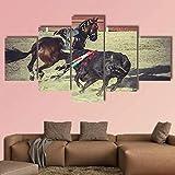 QQQAA Lienzo impresión 5 Piezas Cuadro XXL 150 × 80 cm torero luchando contra un Toro Moderno Deco Sala Estar oficin sofá HD impresión Decor Hogar Pared Arte Marco Enmarcado