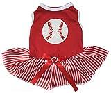 Petitebella Baseball Red Shirt Stripes Tutu Puppy Dog Dress (Fine Stripe, X-Small)
