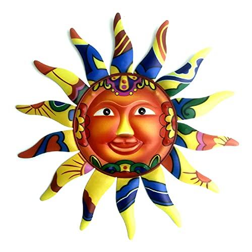 Decoración De Arte De Pared De Sol De Metal Cara Sonriente Sol Mural Colgante Decoración para Sala De Estar,Dormitorio,Jardín,A