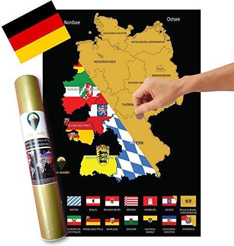 Global Walkabout DEUTSCH Europakarte zum Rubbeln - Deutschland Kratzerkarte mit Flaggenhintergr& - Deluxe A3 Deutschland Kratzerkarte - IDEAL FÜR DEN REISELUSTIGEN (Black)