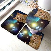 宇宙 猫 トイレマット セット 3点 フタカバー バスマット 足ふきマット おしゃれ 速乾 洗える 滑り止め 家庭 バスルーム トイレ用