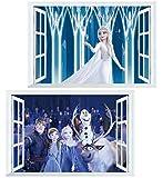 Kibi - 2 Stickers Infantiles Frozen Adhesivos Pared Decorativos Pegatinas De Pared Frozen Para La Habitación Niños Decoración De Pared Dormitorio Bebe Adhesivos de Pared Frozen