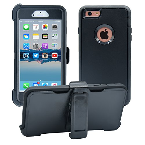iPhone 6 Plus / 6S Plus Cover | 2-in-1 Screen Protector & Holster Case | Military Grade Edge-to-Edge Protection with carrying belt clip | Drop Proof Shockproof Dustproof | Black / Black
