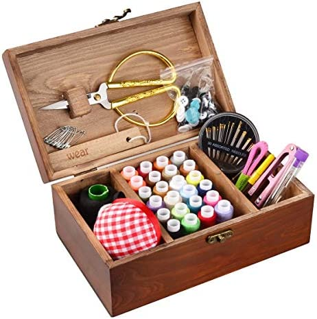 ISOTO Wooden Vintage Sewing Basket with Sewing Kit Accessories Organizer Box for Grandma Mon product image