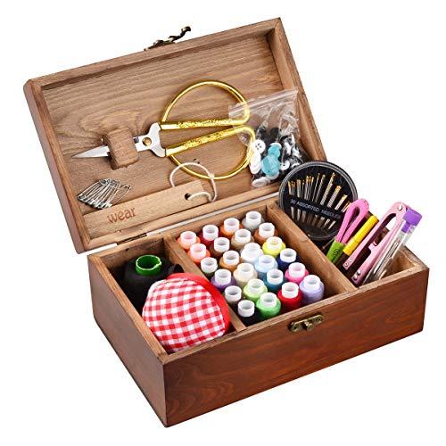 ISOTO Holz-Nähkorb im Vintage-Stil, mit Nähset, Zubehör, Organizer-Box für Oma / Mon / Mädchen / Frauen, Bastler, Haushaltsgeschenk