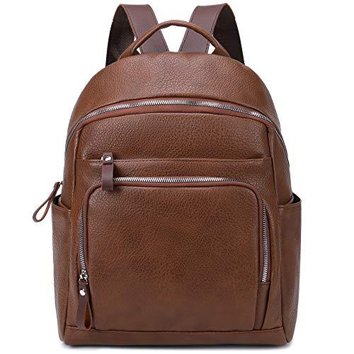 Myhozee Fashion Women Backpack Ladies PU Leather Rucksack Waterproof Daypack Medium School Backpack Cityrucksack Satchel-Coffee