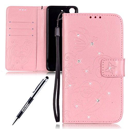 Kompatibel mit HTC Desire 626/626G Hülle Strass Diamant Schmetterling Blume Glitzer Handyhülle Pu Leder Folio Flip Wallet Hülle Brieftasche Etui Schutzhülle Lederhülle Handytasche Pink