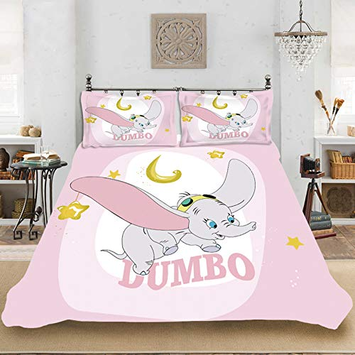 Dumbo Duvet Cover and Pillowcase Set Cartoon Pattern 3D Digital Print Microfibre Children's Bed Linen Pink Blue Single Bed (D,135 x 200 cm)