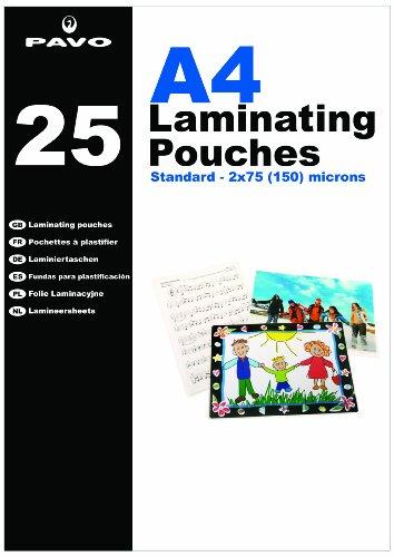 Pavo 8004522 - Paquete de 25 fundas para plastificación, A4