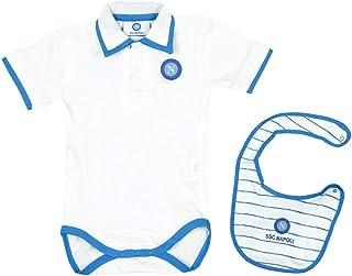 Salopette in cotone con t-shirt neonato ssc napoli azzurro