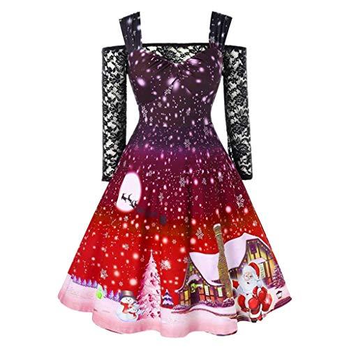 Cramberdy Damen Kleider Weihnachten Cocktailkleid Frauen Kurzarm Spitze Spleißen Partykleid 3D Drucken Blusenkleider Ballkleid Festkleid Langarm Abendkleider Ballkleid Vintage A-Linie Kleider