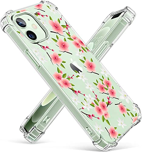 Rokmym Funda para iPhone 12 Pro, de silicona, transparente, con diseño de flores, protección reforzada contra caídas, compatible con iPhone 12 Pro, ultrafina, protección completa contra golpes