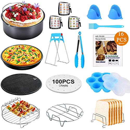 16 PCS Air Fryer Accessories with Recipe Cookbook Compatible with Growise Phillips Cozyna Fit All Air Fryer 3.2QT - 5.8QT, 7in Deep Fryer Accessories