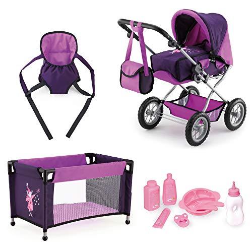 Bayer Design 15012B - Kombi-Puppenwagen Grande Mega-Set mit Reisebett und viel Zubehör, lila