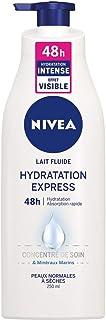 NIVEA Lait Fluide Hydratation Express 48h, Soin corporel pour peaux normales à sèches, Lait corporel enrichi en concentré ...