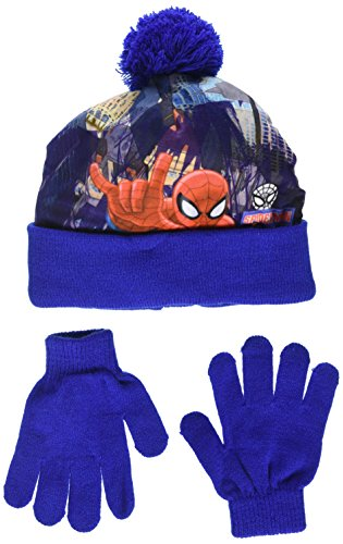 DC Comics Spiderman Over The City Set de gorro y guantes, Azul (Blue 19-3952TC), 2 para Niños