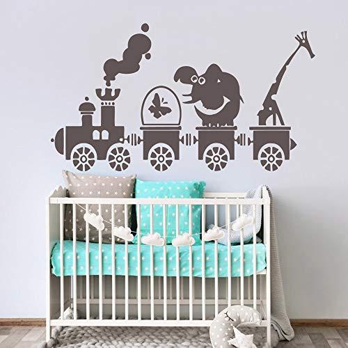 Dibujos animados Tren Animales Papel pintado Rollo Muebles Decorativos para niños Habitación Vinilo Dormitorio Pegatinas Marrón L 43cm X 76cm