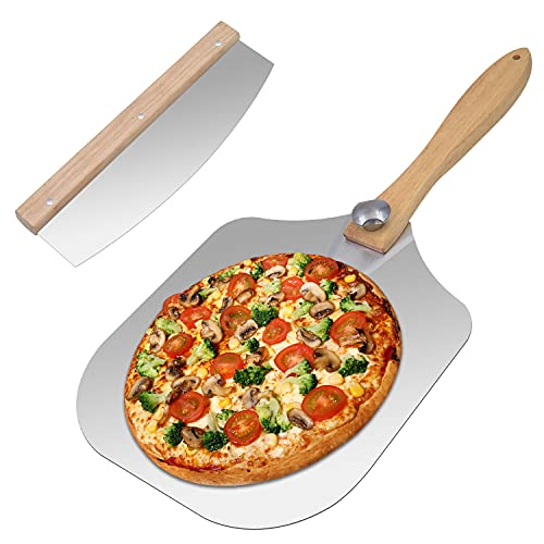 Aluminum Pizza Peel with Pizza Cutter Pizza Spatula With Foldable Wood Handle for Easy Storage,for Indoor and Outdoor Pizza Oven. Pastry, Dough, Bread Peel and Rocker Knife Pizza Paddle