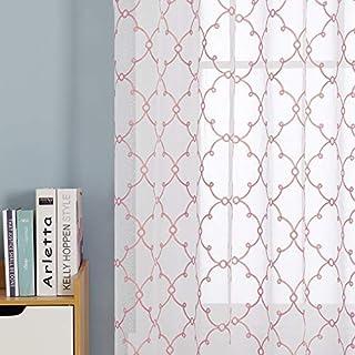 Deconovo Visillos para Ventanas Gasa Efecto Lino Cortina Transparente para Habitación Bebe Infantil 2 Paneles 140 x 180 cm Rosa