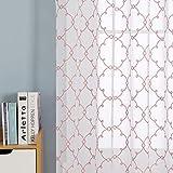 Deconovo Visillos Ventana Voile Decorativo Diseño Bonito Cortina Infantil Traslúcida para Sala de Estar Cocina 1 par 140 x 240 cm Rosa