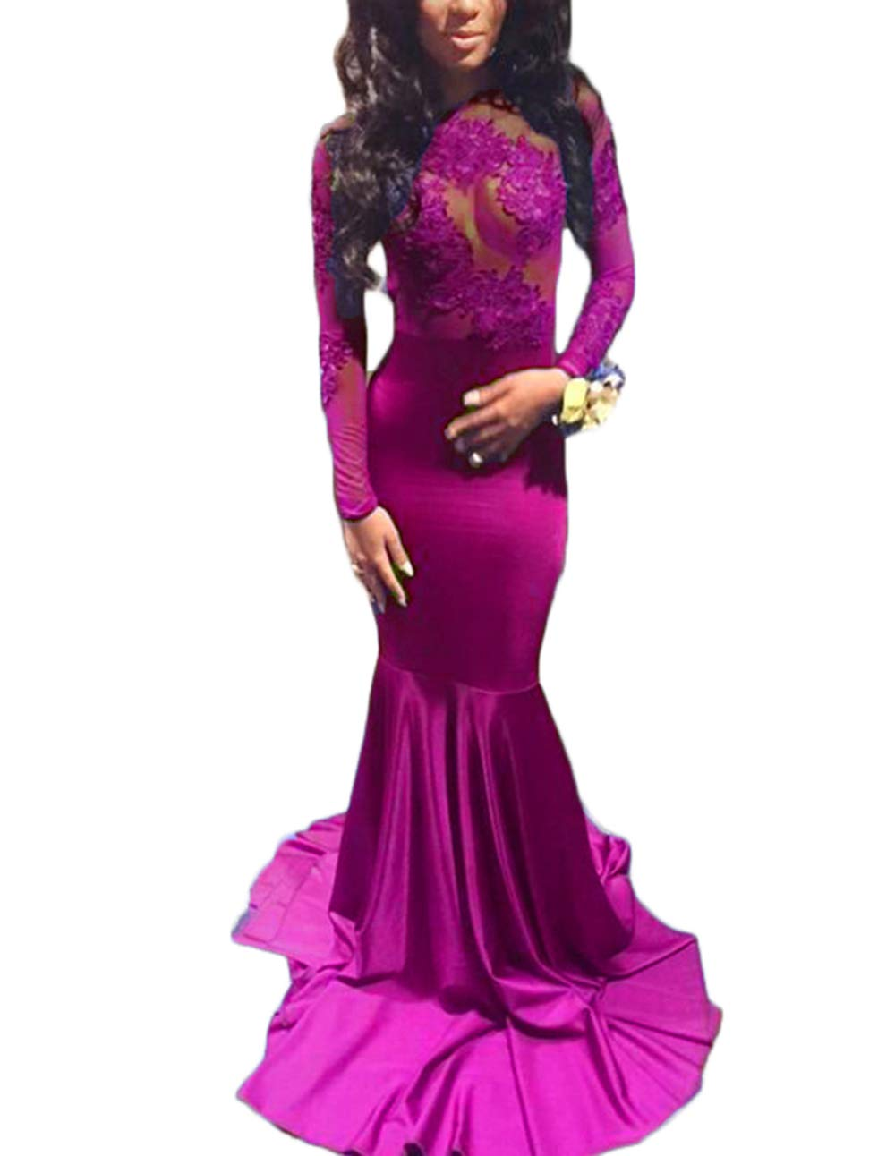 Available at Amazon: alilith.Z Sexy Illusion Appliques Prom Dresses Mermaid Long Sleeve Formal Evening Party Gowns for Women Fuchsia