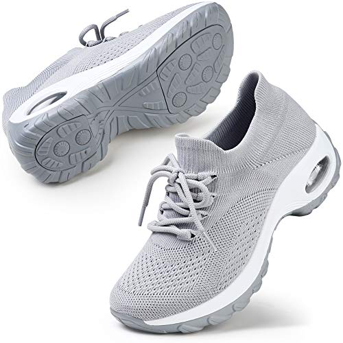 STQ Women Breathable Mesh Walking Shoes Ultra Light Lace Up Lowtop Sneakers Grey Size 7