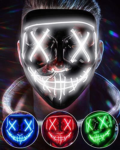 AnanBros Halloween Maske, LED Purge Maske im Dunkeln Leuchtend, Halloween Purge Maske 6 Beleuchtungsmodi für Kostümspiele Cosplays Feste und Partys - Weiß