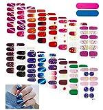 16 Sheets Nail Polish Strips, Full Nail Wraps Star Moon Nail Stickers, Self-Adhesive Nail Art Stickers with 2 Nail Files for Women Girls