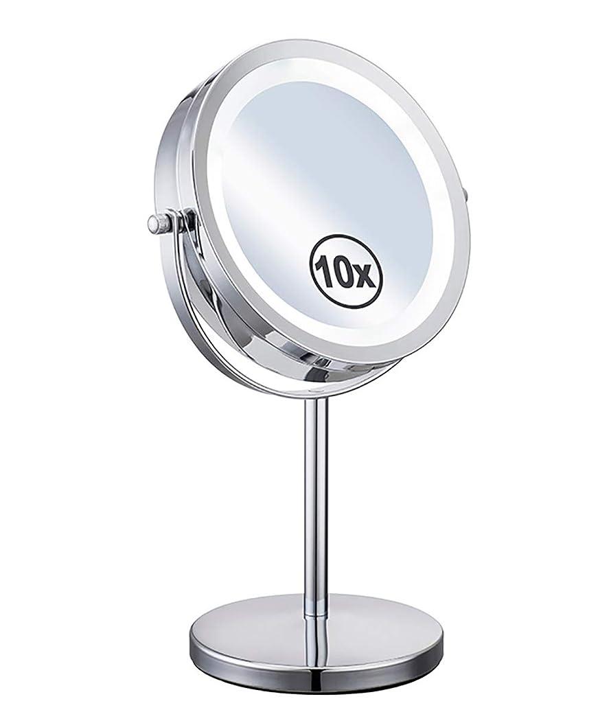 より多い保持証人LED照明付き化粧鏡補助ランプデスクトップ両面360°スイベル1倍/ 10倍拡大鏡個人用とミラー