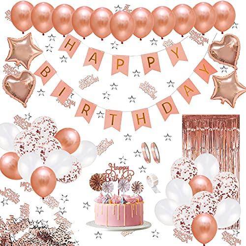 JSTC Geburtstagsdeko Rosegold Deko Geburtstag Mädchen, Happy Birthday Girlande Decorations mit Luftballons, Folienballon, Banner, Ballons, Glitzer Vorhang, Tischdeko Konfetti, Topper für Party.