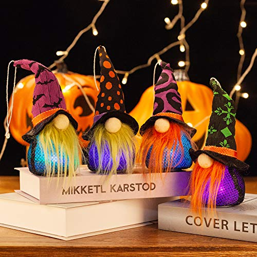 XAMSHOR Handmade Halloween Gnomes with Colorful Light Witch Gnome Hang Plush Tomte Scandinavian for Home Table Decorations Gift Set of 4