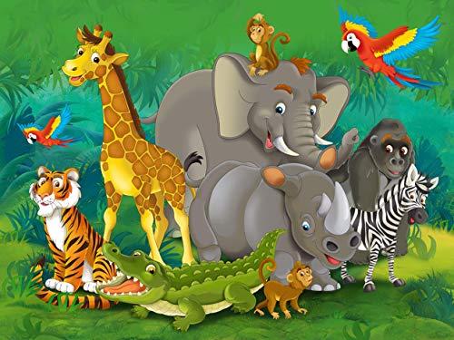 Fotobehang FTNxxl2420 vlies jungle-dieren 330 x 255 cm, 3-delig