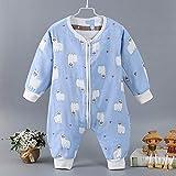 QFYD FDEYL Saco de Dormir de algodón Bio Diferentes tamaños,Saco de Dormir de Gasa de algodón para bebé, Traje de Escalada Leggings divididos-Blue Beast_90cm,bebé Bolsa Dormir Mangas extraíbles