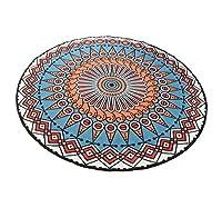 ラグ、クリエイティブ北欧ラウンドエスニック風プリントラウンドラグ(80-150cm直径) (Color : A, Size : Diameter 80cm)