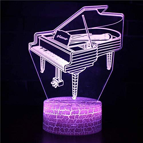 Muziekinstrument piano nachtlampje voor kinderen 3D illusie lamp 7 kleuren wijzigen met afstandsbediening sfeerlicht, vakantie en verjaardagscadeau voor jongens meisjes
