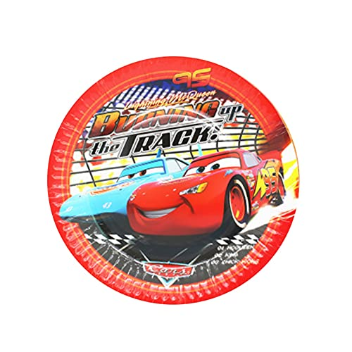 Jjwlkeji Party Tableware Cars Birthday Party Decorations Kids Favor McQueen Paper Cups Plates Tablewares Set Party Supplies (Color : 7inch plate 8pcs)