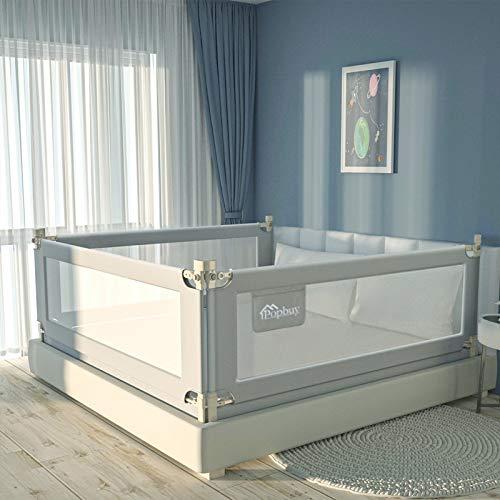 Barrera de cama Ajustable, Regulable en Altura,Barandilla de La Cama Guardia de Seguridad para Niños,protección anticaídas(180cm,Gris,1pcs)