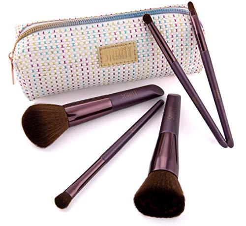 Beauty kwastenset met 5 make-upkwasten & make-up tas in set