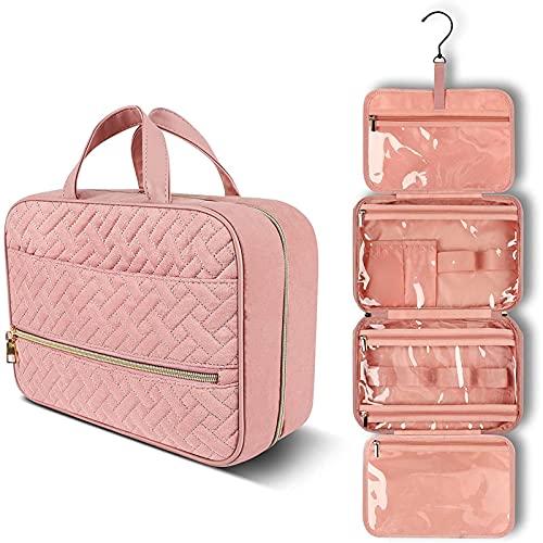 Bolsa de aseo de viaje de gran capacidad, bolsa de cosméticos de viaje, bolsa de almacenamiento portátil con cremallera